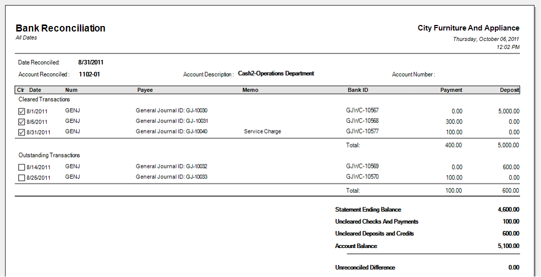 Bank Account Reconciliation Template Bank Reconciliation Template – Bank Reconciliation Example